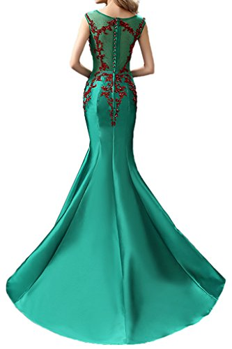 Gown Dress Covered Sweep Tulle Satin Elegant Mermaid Evening Avril Green Button Formal vnFUqZwU