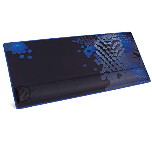 ENHANCE XXL Large Extended Gaming Mouse Pad with Ergonomic Memory Foam Wrist Rest Support (31.5 x 13.78 x 1 inches) - Anti-Fray Stitching & Soft Cushion Mat Surface (Blue)