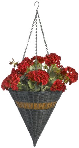 DMC Products 14-Inch Cone Resin Wicker Hanging Basket with Chain Hanger, Hunter Green