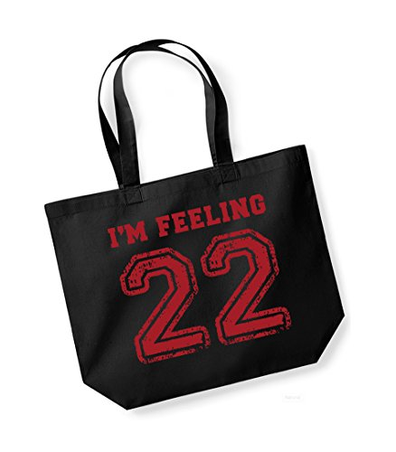 I'm Feeling 22- Large Canvas Fun Slogan Tote Bag Black/Red