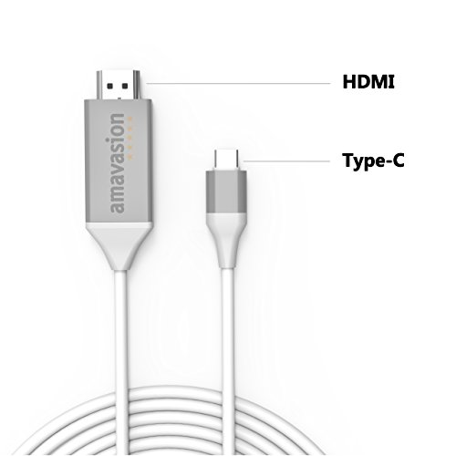 USB C to HDMI Cable, Plug and Play, Amavasion Type C Male to HDMI Male, USB Digital AV adapter for Macbook Pro, Notebook, Samsung Galaxy S8/note 8, Huawei. 6.6Ft/2M(Gray) by Amavasion