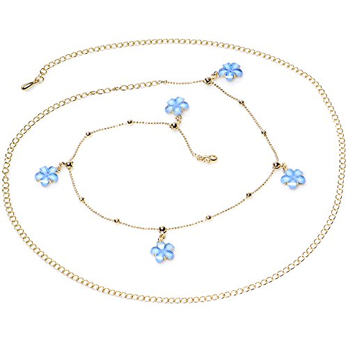 Body Candy Baby Blue Spring Flower Bead Dangle Belly Chain ()