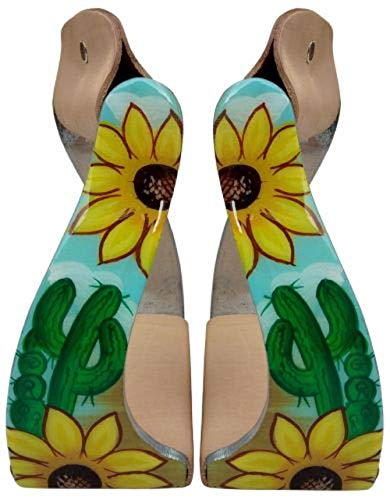 Showman Lightweight Twisted Angled Aluminum Stirrups with Sunflower and Cactus Print Overlay
