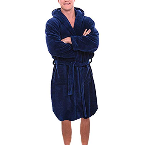 Realdo Mens Flush Robe with Hood, Plus Size Men's Warm Solid Drawstring Long Sleeved Pajamas Coat Dark Blue]()