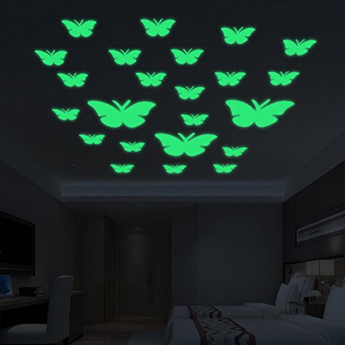Iuhan Creative Luminous Wall Decorative 24pcs Butterfly Stickers Glow in the Dark Light Decor Removable Decals Mural Wall Art Kids Bedroom