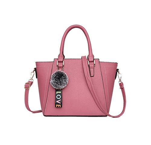 Xiuy Donna Borse Da Lavoro Classici Lmpermeabile Borse Messenger Fashion Pu Borse a Mano Kawaii Classica Borse Spalla Cinghia a Tracolla Borse Secchiello Unicolor Borse Personalizzati Pink