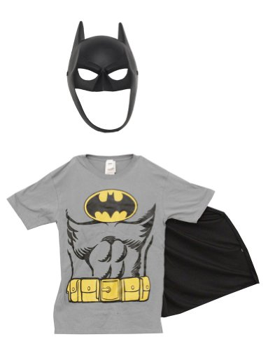 Batman DC Comics Costume Adult T-Shirt Tee With Mask And Removable Cape