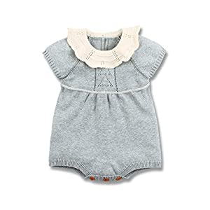 mimixiong Baby Romper, Girls Knitted Ruffle One Piece Short Sleeve Outfits