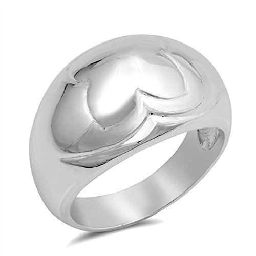 High Polish Dome Wide Fashion Ring New .925 Sterling Silver Band Size 7