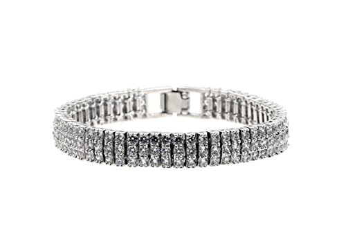 3 Rows Diamond Cut Clear AAA CZ Bracelet Tennis Bridal Wedding Party Jewelry For Women Prom (Silver)