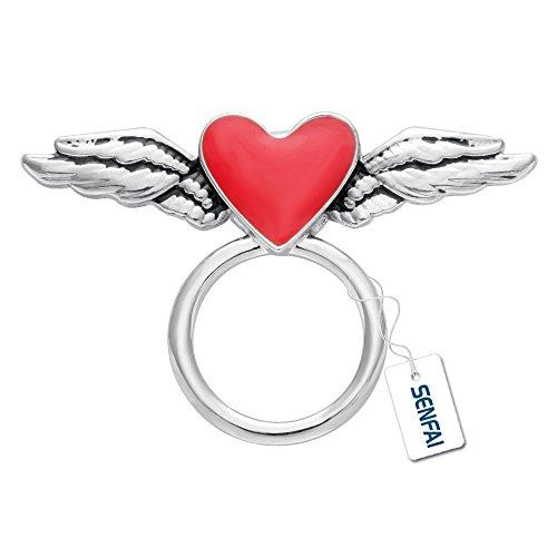 SenFai Lovely Flying Enamel Red Heart Magnetic Clip Holder Eyeglass Holder Brooch Jewelry (Antique Silver) -