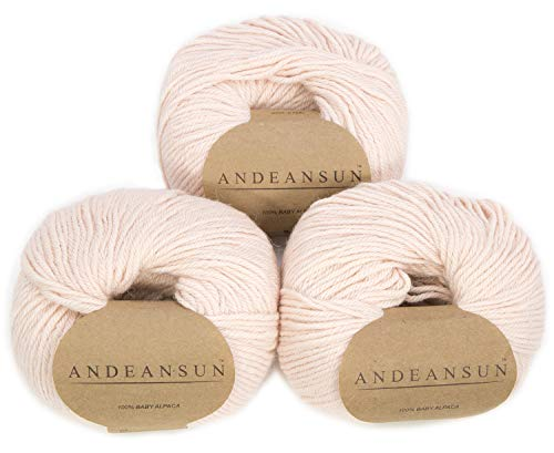 100% Baby Alpaca Yarn (Weight #3) DK - Set of 3 - AndeanSun - Luxuriously Soft for Knitting, Crocheting - Great for Baby Garments, Scarves, Hats, and Craft Projects - (Peach Cream)