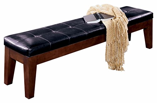 Dark Brown Leather Bench - Ashley Furniture Signature Design - Larchmont Extra Large Upolstered Bench - Burnished Dark Brown
