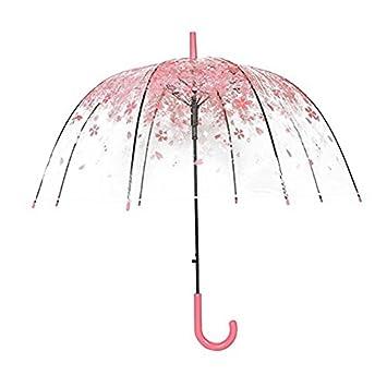 rokoo mujeres lluvia sol paraguas mango largo Cherry Blossom seta princesa transparente paraguas rosa Rosa: Amazon.es: Hogar
