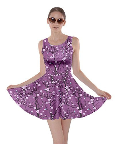 CowCow Womens Purple Tree Pattern Japanese Cherry Blossom Skater Dress, Purple - 2XL