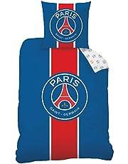 PSG sängkläder set 2 delar – fotboll Frankrike Paris Saint Germain – Vändbart motiv – 1 örngott 80 x 80 + 1 påslakan 135 x 200 cm – 100 %