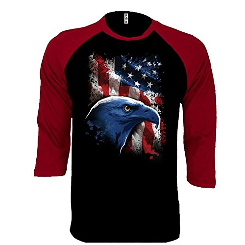 American Flag Baseball Jersey (SR Bald Eagle With American Flag Baseball Tee Patriotic 'Merica USA Pride USA Flag 3/4 Sleeve Raglan Jersey Shirt X-Large)