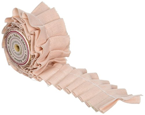 Ruffled Fabric Ribbon Trim Pastel Pink