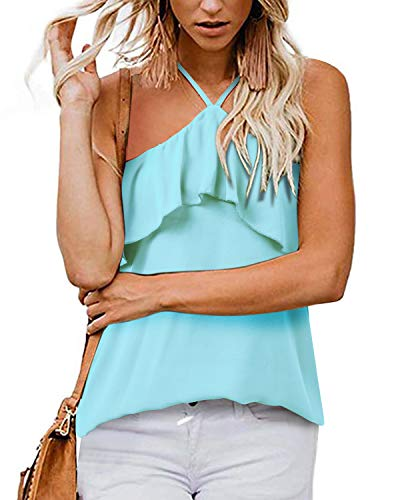 SHANUOINT Sexy Blouses for Women,Juniors Summer Flowy Halter Draped A Line Camis Tank Tops Ladies Plain Sleeveless Strappy Camis Business Casual Clothes Off Shoulder Backless Chiffon Shirts Blue S