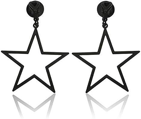 Fashion Clip on Earrings for Girls Women Pentagram Hexagram Dangle Jewelry Five Star Non Pierced Ear