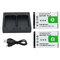 ENEGON Replacement Battery (2-Pack) and Rapid Dual Charger for Sony NP-BX1, NP-BX1/M8 and Sony Cyber-shot DSC-RX100, DSC-RX100 II, DSC-RX100 V, DSC-RX100 IV, FDR-X3000, FDR-X3000R, HDR-CX405