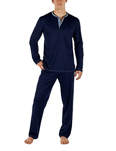 Calida Chill Out 100% Cotton Pajama Set (43162) L/Dark Blue by Calida (Image #1)