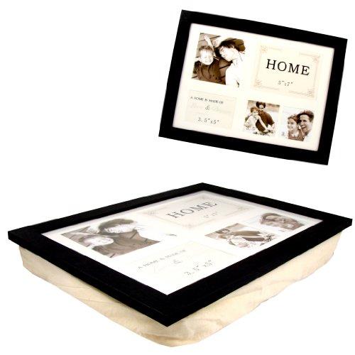 Knietablett Laptoptisch Laptray Tablett mit Kissen und Foto Rahmen für Laptop oder Frühstück schwarz
