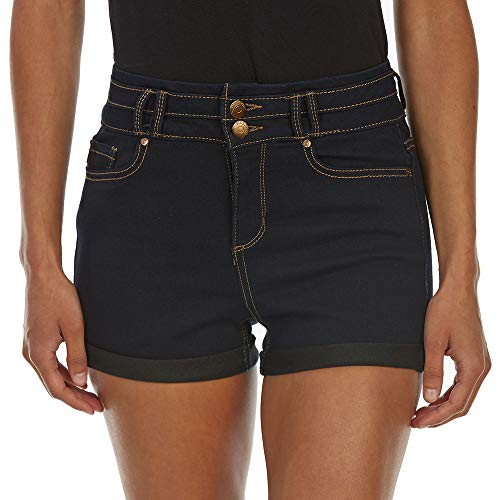 Blue Spice Juniors' High-Rise 2-Button Stacked Waist Roll Cuff Denim Shorts ()