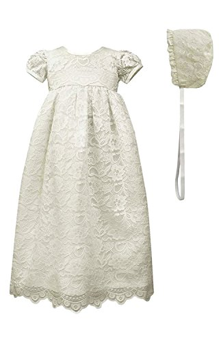 Newdeve Lace Christening Gowns For Baby Girls Baptism Dresses With Lace Bonnet by New Deve