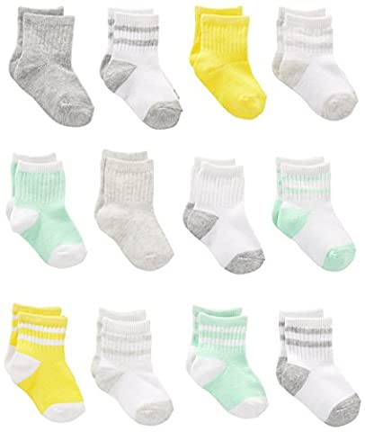 Simple Joys by Carter's Baby 12-Pack Socks, White/Mint/Yellow, 0-6 Months - Joy Stocking