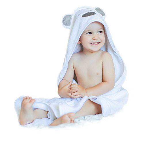 Luxury Baby Hooded Towel Thick and Soft, Extra Large 35 x 35 Inch, Keeps Baby Dry and Warm, for Newborn, Infant and Toddler, Natural Cotton, White
