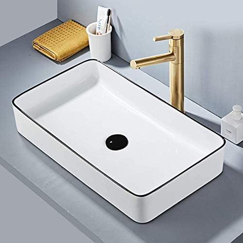 [スポンサー プロダクト]COOL GEAR 洗面ボウル ,洗面台 、洗面ボール、セラミック手洗い器 、含む洗面用ポップアップ排水栓、排水ホース75センチを含む,から選択する複数の形状(長方形:600 *345*110mm)