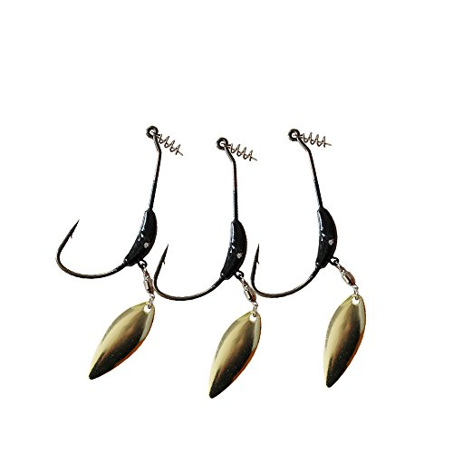 Weighted Hook with Twist Lock Silver or Gold Spin Superline Spring Hook Swim Bait 3pcs/Pack 3g 5.5g 9g (0.31oz(9g)-3pcs)