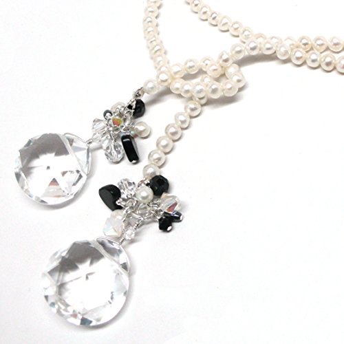 Lariat Statement Necklace Chunky Quartz Crystal Cultured Pearl Sterling Silver