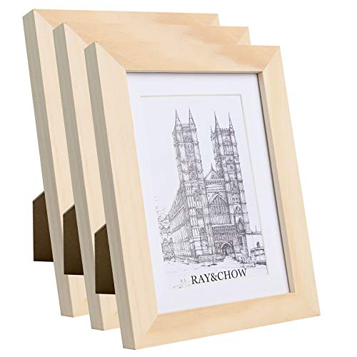 Ray & Chow 5x7 inch Natural Wood Colour Picture Photo Frames - Solid Wood - Glass Window- with Picture Mat for 4x6 inch Photo - Table Top Display or Wall Hanging- 3 Pack
