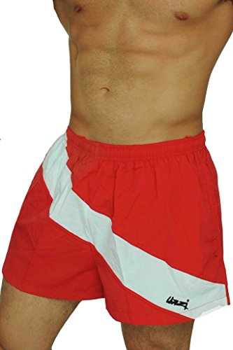 Men's Basic Swim Shorts Swimwear Dive Trunks By UZZI: RED/WHITE STRIPE (Small)