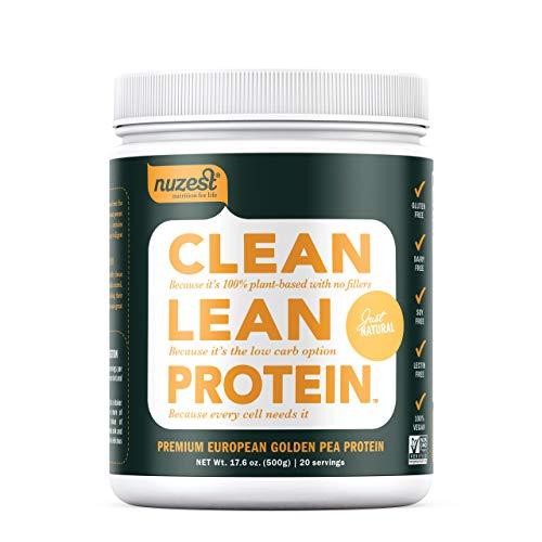 Nuzest Clean Lean Protein - Premium Vegan Protein Powder, Plant Protein Powder, European Golden Pea Protein, Dairy Free, Gluten Free, GMO Free, Just Natural (UNFLAVORED), 20 Servings, 1.1 lb