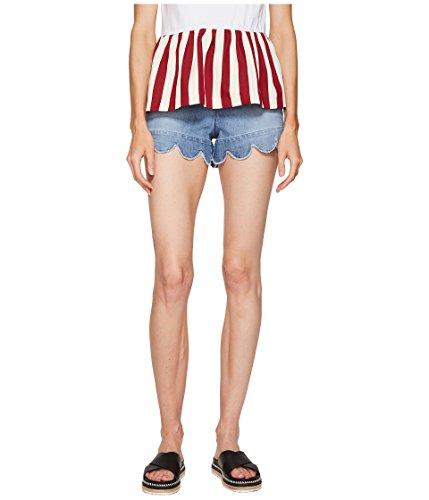 準備ができて地上のつらい[レッドヴァレンティノ] RED VALENTINO レディース Stone Washed Scallops Embroidery Shorts パンツ [並行輸入品]