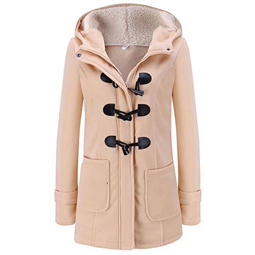 XOWRTE Women's Horn Buckle Hooded Long Jacket Warm Winter Overcoat Outwear Coat Cardigan (Pleated Buckle)