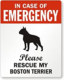 In Case Of Emergency, Please Rescue My Boston, Adhesive Signs and Labels, 5 Labels / Pack, 4\