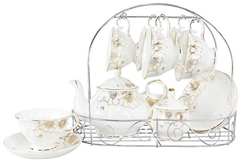 Porcelain Ceramic Coffee Tea Sets 15 Pieces with Metal Holder,Cups& Saucer Service for 6,with Teapot Sugar Bowl Cream Pitcher ()