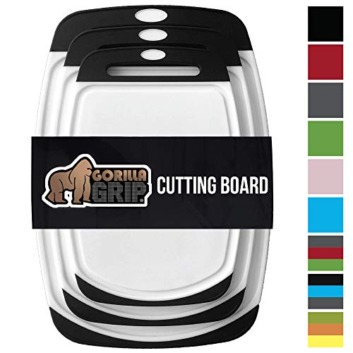 (Gorilla Grip Original Reversible Cutting Board (3-Piece) BPA Free, Dishwasher Safe, Juice Grooves, Larger Thicker Boards, Easy Grip Handle, Non Porous, Extra Large, Kitchen (Set of Three:)