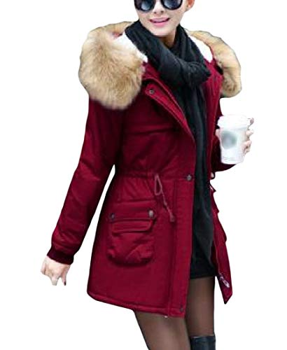 Cromoncent Women's Winter Thick Fleece Casual Faux Fur Hoodie Outwear Parkas Coat Wine Red XS by Cromoncent
