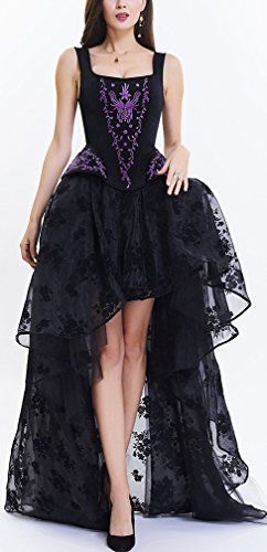 Pandolah Sexy Lingerie Fashion Lace up Vintage Gothic Victorian Corset Bustier Prom Skirt