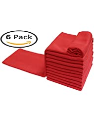 Dish Towel Red in 100% Cotton Waffle Weave -16x28 with Quick Dry,Kitchen Towel,Absorbent Towels,Bar Towels,Tea Towels,Cleaning Towels,Kitchen Dishes with Machine Washable Set of 6 Pieces