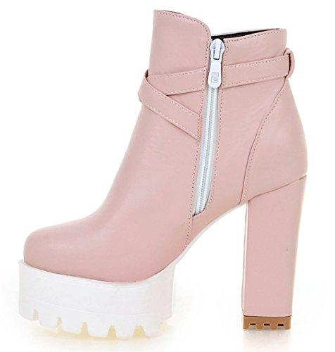YE Damen Chunky High Heels Stiefeletten Plateau mit Blockabsatz Schnallen und Reißverschluss 11cm Absatz Ankle Boots Rosa