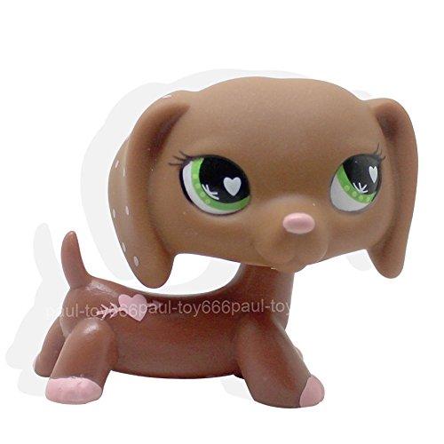 LHJ #556 Rare Littlest Pet Shop LPS Toys Pink Hearts Valentine Dachshund Dog Puppy