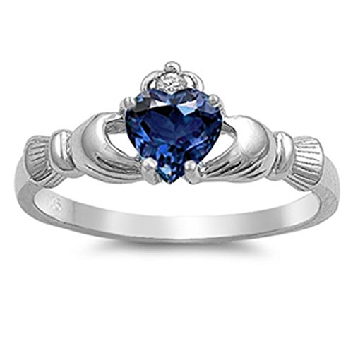 - Blue Simulated Sapphire Claddagh Friendship Ring .925 Sterling Silver Band Size 3