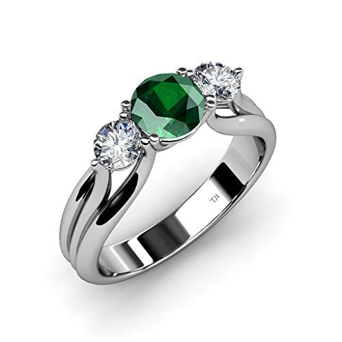 Emerald and Diamond Three Ston