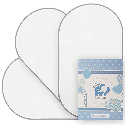 Waterproof Changing Pad Liners, Soft Bamboo Terry with Padded Backing - 3 Pack - White